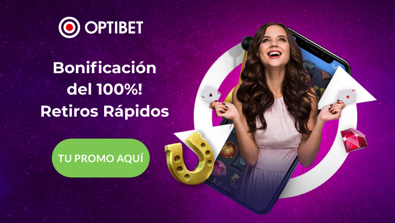 Optibet Casino Perú te trae un excelente bono de bienvenida del 100% más giros gratuitos