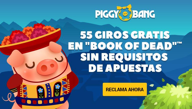 El casino Piggy Bang ofrece a sus jugadores una oferta de bienvenida de 55 giros gratis