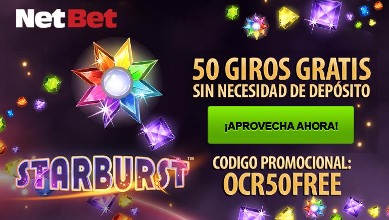 Consigue 50 tiradas gratuitas en Starbust con NetBet Casino